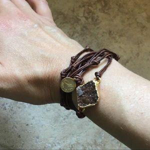 NINA NGUYEN bardot wrap druzy bracelet necklace
